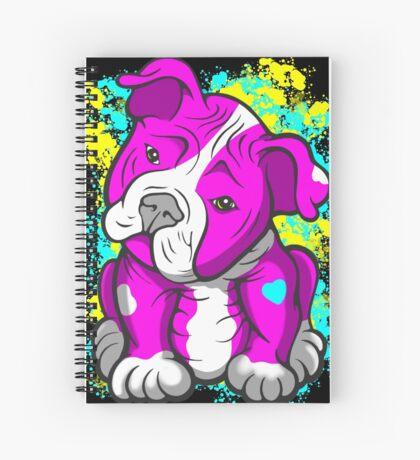 Pit Bull Pup Tilted Head Cartoon Pink  Spiral Notebook