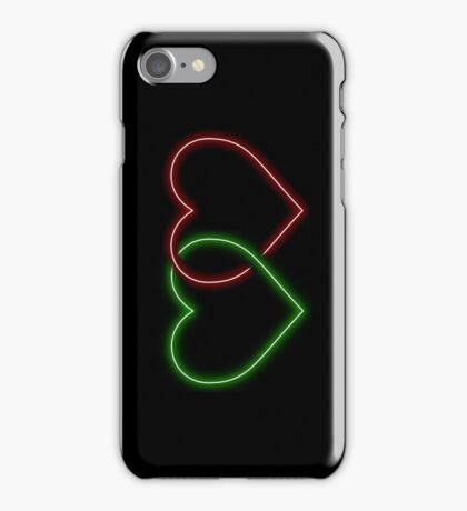 Valentine Interlocking 2 - Tone Neon Sweetheart Hearts on Black iPhone Case/Skin