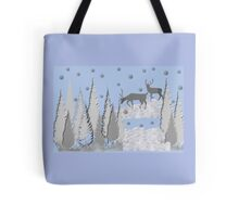 Snow scene with trees and deers Tote Bag