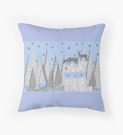 Snow scene with trees and deers Throw Pillow