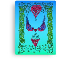 Celtic Hearts and Bluebirds Canvas Print
