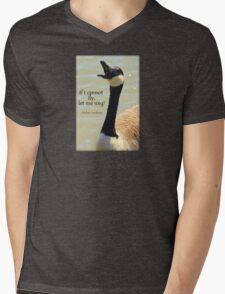 Singing Goose Mens V-Neck T-Shirt