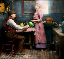 Kitchen - Morning Coffee 1915 by Mike  Savad