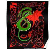 Red and Green Celtic Dragon Poster