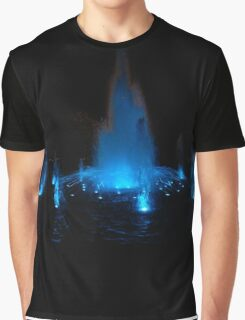 Blue Fountain at Night Graphic T-Shirt