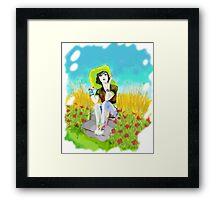 Oleo de una mujer con Sombrero Framed Print