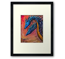 Blue Dragons original acrylic painting. Framed Print