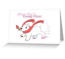 Cute Polar Bear with Rose and Scarf CARD Greeting Card