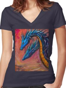 Blue Dragons original acrylic painting. Women's Fitted V-Neck T-Shirt