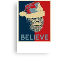 Vintage Sasquatch Bigfoot Funny Santa Monkey Believe Obey Canvas Print