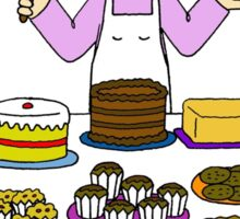 Love to bake, lady with cakes. Sticker