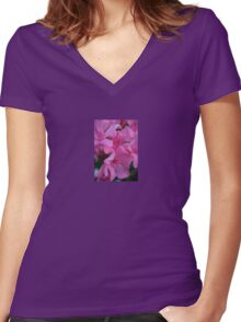 Closeup Shot of Pink Flowers on Oleander Shrub Women's Fitted V-Neck T-Shirt