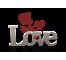 'Love' with Red Cherub Holding a Heart Photographic Print
