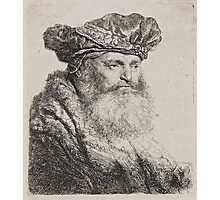 REMBRANDT HARMENSZ VAN RIJN, A bearded man in a Velvet Cap with a Jewel Clasp Photographic Print