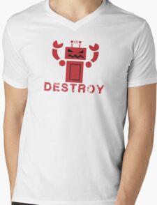 Robot  DESTROY Mens V-Neck T-Shirt