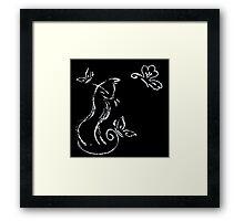 Cat on black pastel crayon Framed Print