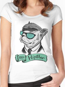 Hand Drawn Fashion Portrait of Bulldog Hipster  Women's Fitted Scoop T-Shirt