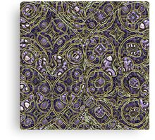 Violet Purple Faux Gold Victorian Swirls Pattern Canvas Print