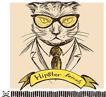 Hand Drawn Fashion Portrait of Cat Hipster  by naum100