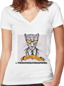Hand Drawn Fashion Portrait of cheetah Hipster Women's Fitted V-Neck T-Shirt