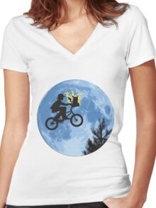 ET movie mashup with Pokemon Women's Fitted V-Neck T-Shirt