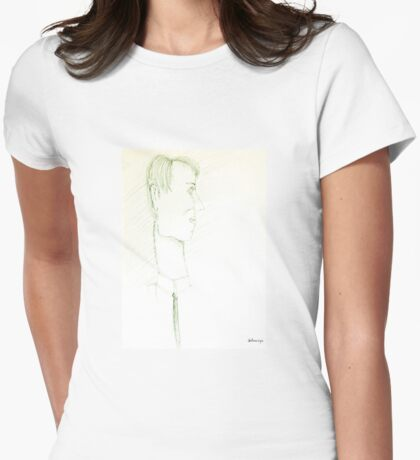 Sketch of man Womens Fitted T-Shirt
