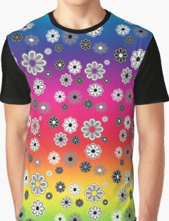 Flower Power Groovy in Rainbow Multicolor Graphic T-Shirt