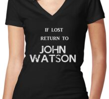If Lost Return to John Watson Women's Fitted V-Neck T-Shirt