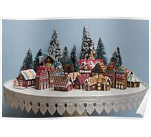 Miniature Gingerbread House Town Poster