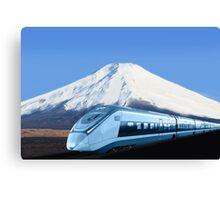 Intercity train with Mount Fuji background Canvas Print