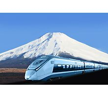 Intercity train with Mount Fuji background Photographic Print