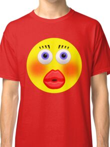 Smiley Embarrassed Kissing Girl Classic T-Shirt