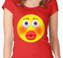 Smiley Embarrassed Kissing Girl Women's Fitted Scoop T-Shirt