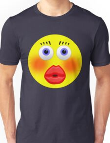 Smiley Embarrassed Kissing Girl Unisex T-Shirt
