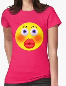 Smiley Embarrassed Kissing Girl Womens Fitted T-Shirt