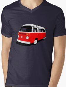 VW Camper Late Bay red and white Mens V-Neck T-Shirt