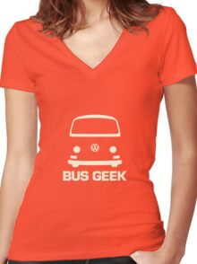 VW Camper Bay Bus Geek Cream Women's Fitted V-Neck T-Shirt