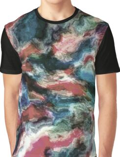 Teal Blue Coral Red Watercolor Swirls Art Pattern Graphic T-Shirt