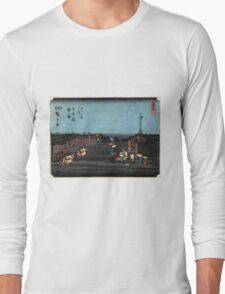 Dawn At Nihonbashi - Hiroshige Ando - 1848 - woodcut Long Sleeve T-Shirt