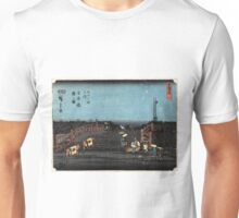 Dawn At Nihonbashi - Hiroshige Ando - 1848 - woodcut Unisex T-Shirt