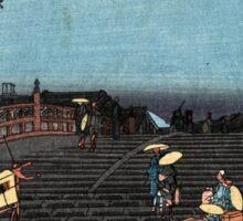 Dawn At Nihonbashi - Hiroshige Ando - 1848 - woodcut Sticker