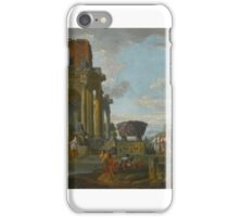 Giovanni Paolo Panini A CAPRICCIO OF CLASSICAL RUINS WITH FIGURES iPhone Case/Skin