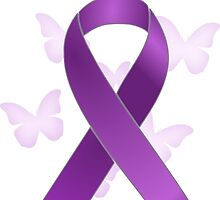 Purple Awareness Ribbon with Butterflies by Alondra