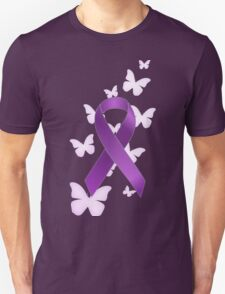 Purple Awareness Ribbon with Butterflies Unisex T-Shirt