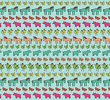 Striped Pigs and Ponies - Peach Melba by Cecca-Designs