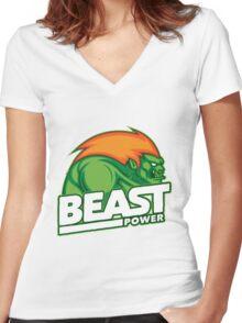 Street Fighter Blanka Women's Fitted V-Neck T-Shirt