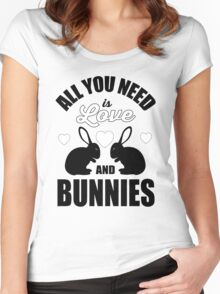 All you need is love and bunnies!  Women's Fitted Scoop T-Shirt