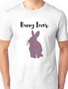 purple rabbit silhouette with red heart detail  Unisex T-Shirt