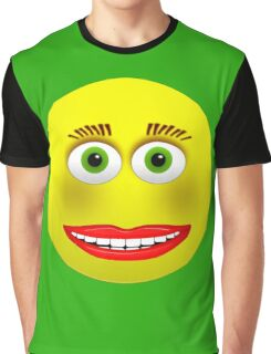Smiley Green Eyes Makeup Graphic T-Shirt