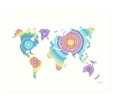 World Map Mandala Art Print